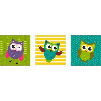 Eurographics Wandtattoo 3er Set Funny Owls 30x30 cm