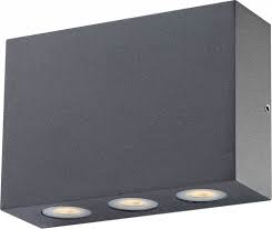 Globo LED Wandaußenleuchte Aluminium dunkel grau 130x42x90mm