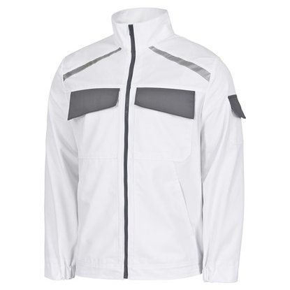 Arbeitsjacke, Berufskleidung weiß-grau Gr. XXL